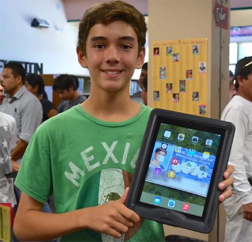 boy and iPad